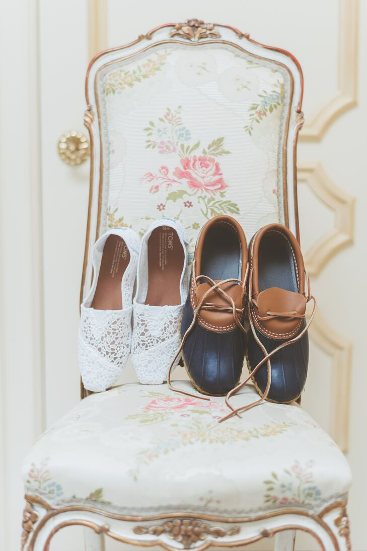 "When it came to choosing kicks for her walk down the aisle, comfort was key for Caroline. White lace Toms proved to be the perfect fit—the low-profile and lace detailing struck a balance of comfort and bridal vibes. ""The days leading up to the wedding called for rain, so I bought some duck boots from L.L. Bean just in case,"" Caroline says."