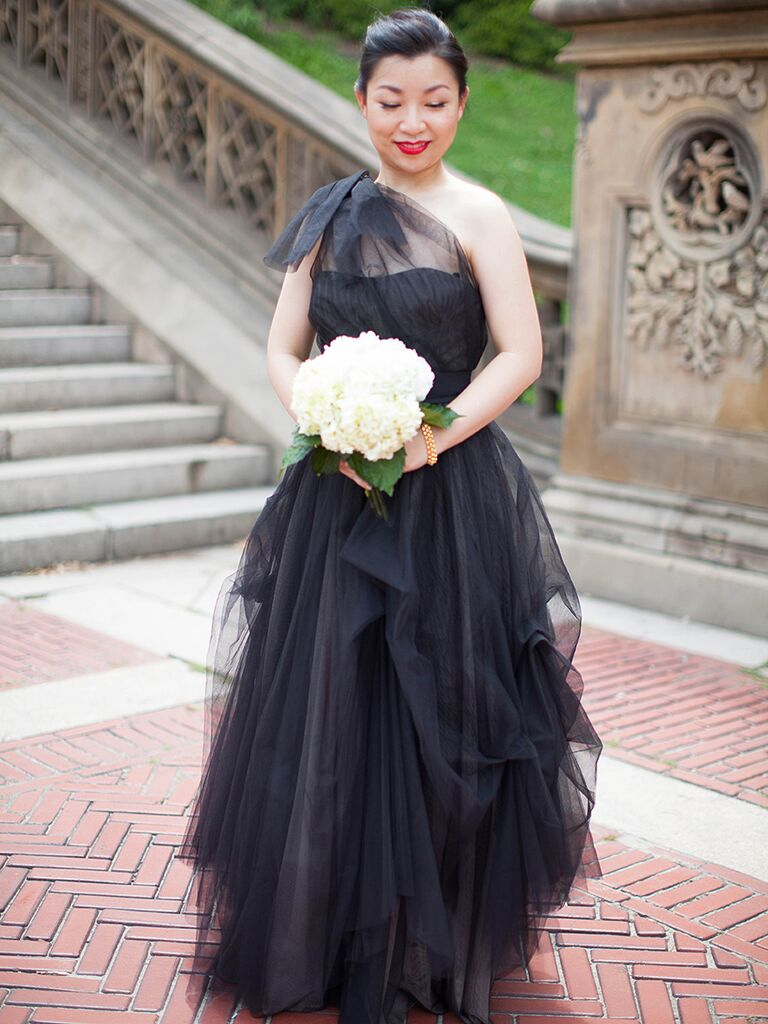 Nontraditional black tulle wedding gown by BCBG