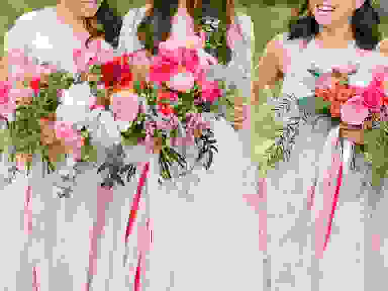 bright pink bridesmaid bouquets