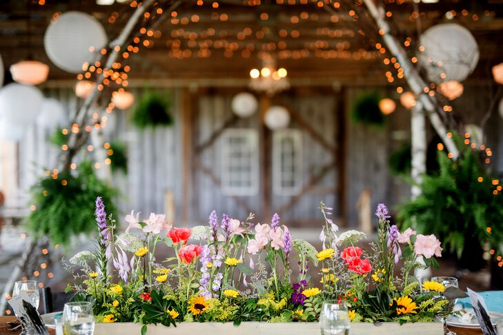 Colorful Garden-Inspired Planter Box Centerpiece