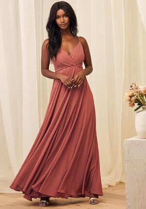 Lulus All About Love Rusty Rose Maxi Dress V-Neck Bridesmaid Dress