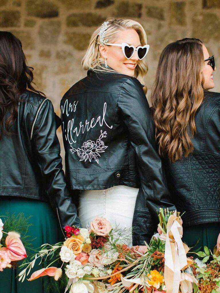 Custom hand-painted wedding leather jacket