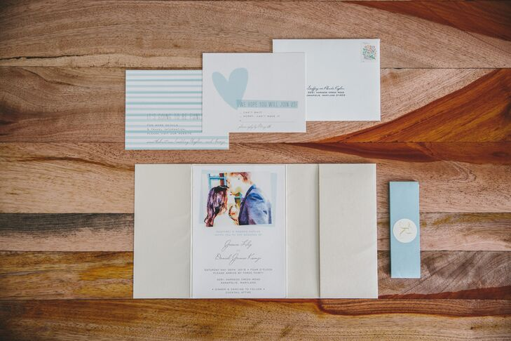 """""""I used parts from different invitation suites, and Minted.com worked with me to match the colors and fonts for the invitations,"""" Jess says. """"I really wanted something romantic, so I took one of our favorite photos and turned it into a watercolor design."""""""