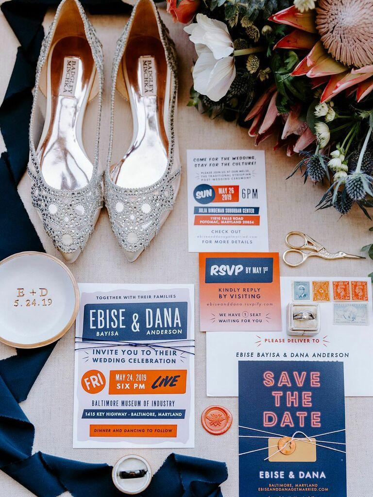 Alternative wedding style flatlay with invitations and stationery