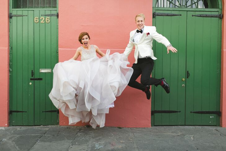Virginia and Jeff wanted their wedding to be vibrant and exciting, so they hired a rollicking band and a live painter to make their reception rock.