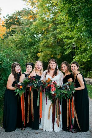 Elegant Bridal Party in Black Dresses with Fall Bouquets