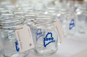 Nautical Maine Mason Jar Escort Cards