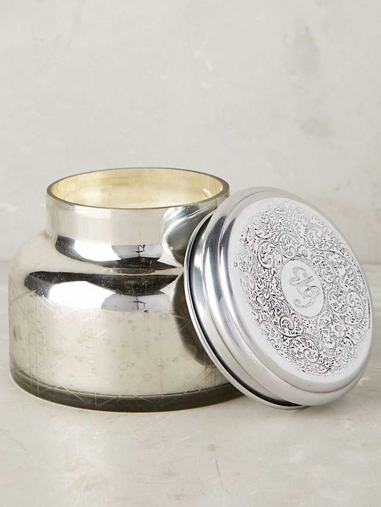 Silver two-wick candle