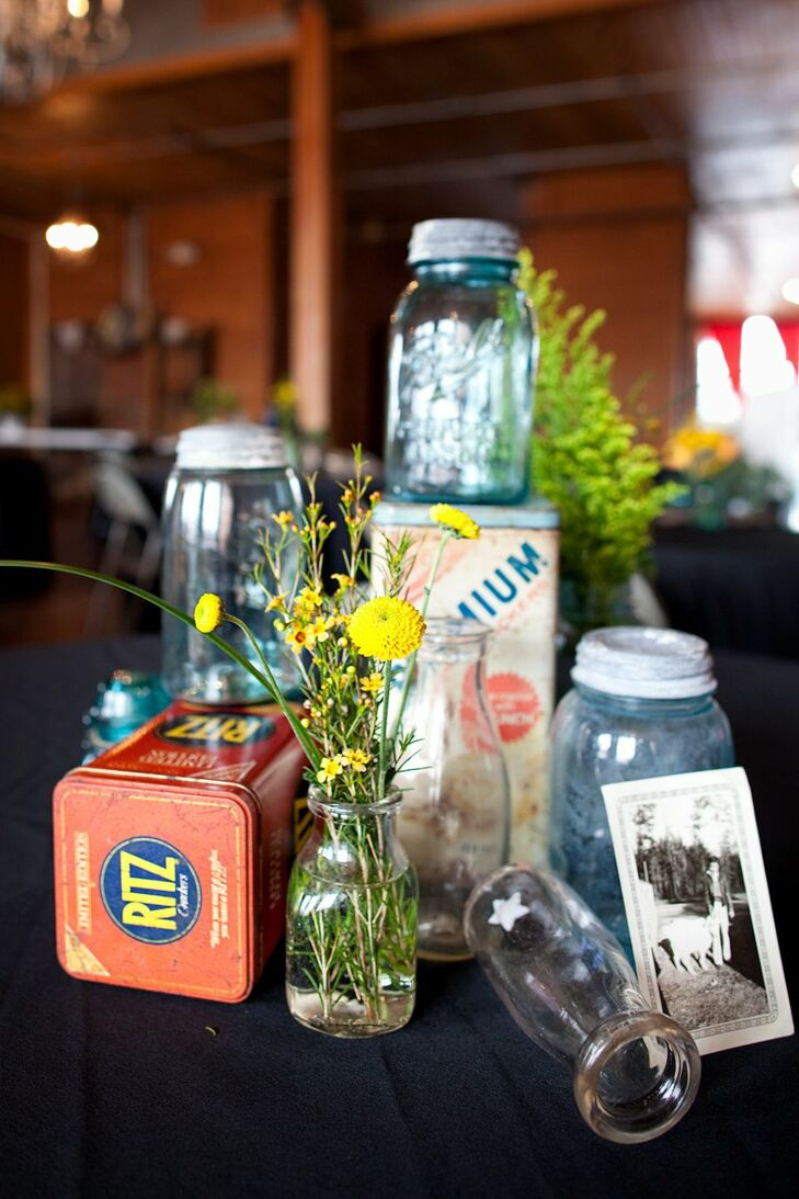 The decorations at the wedding were provided by family members for a true vintage feel and look.