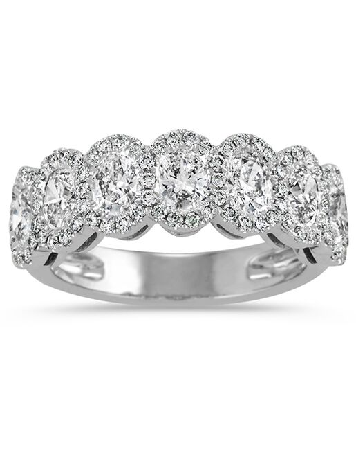 Oval And Round Diamond Halo Wedding Band White Gold Ring