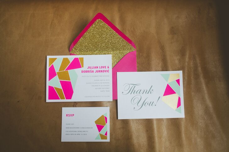 The invitations inspired the wedding's geometric theme. The palette of bright pink, coral, mint and metallic gold reflected the modern and energetic atmosphere of Jill and Dobi's Austin, Texas, wedding.