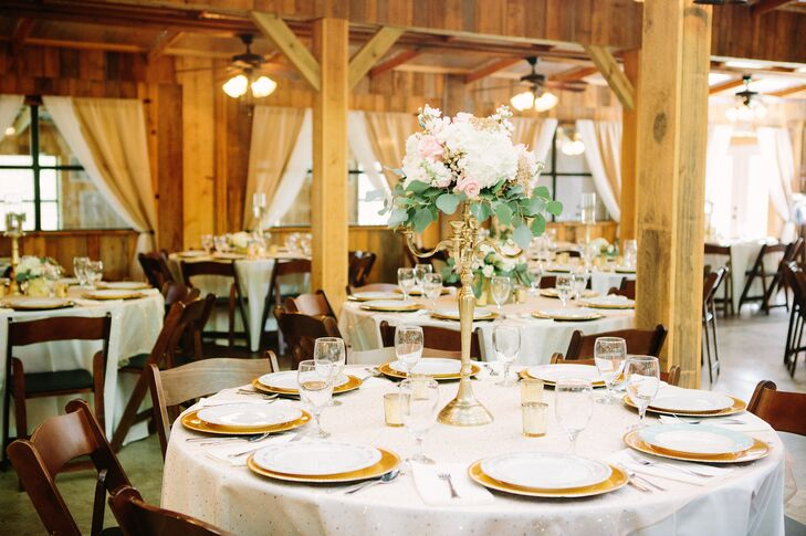 Candelabra Dining Table Centerpieces Favorite Tall Gold Candelabras Topped With Loose Whimsical Floral Arrangements Added Garden Glam To The Barn
