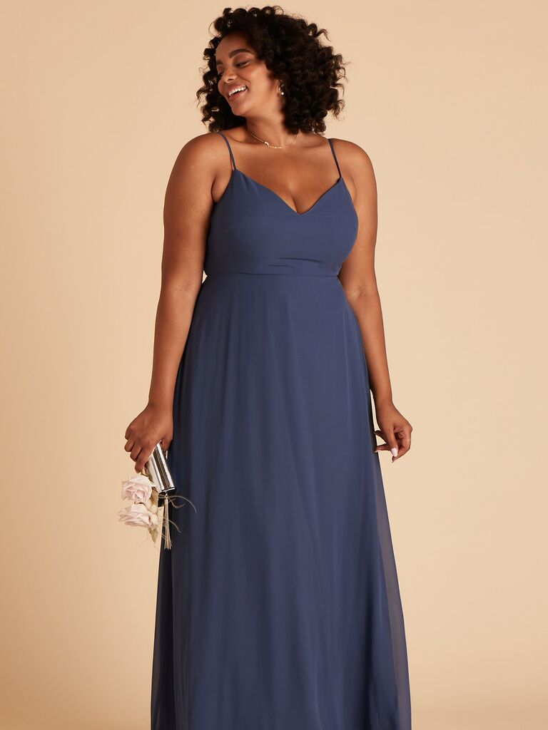 Blue plus size bridesmaid dress under $100