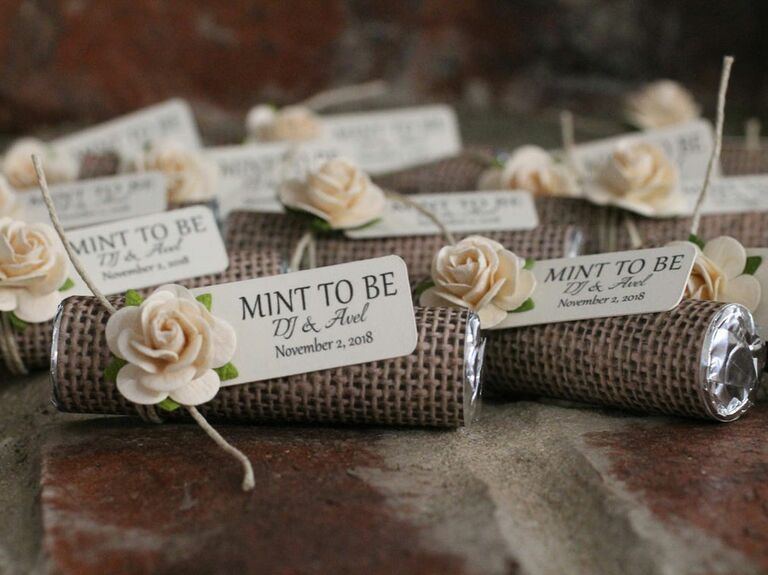 mints wrapped in burlap rustic favor