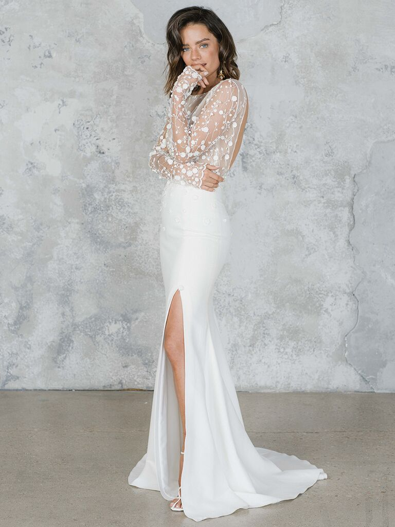 Long sleeve dress with sheer lace bodice and slit