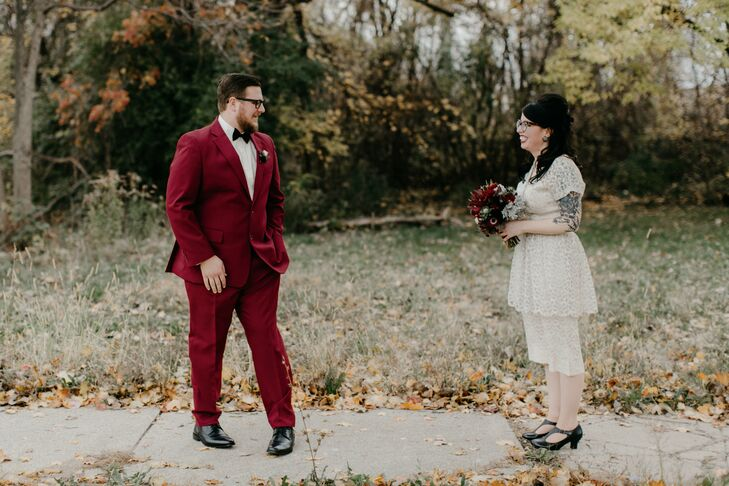 Couple with Retro Fashion and Burgundy Accents