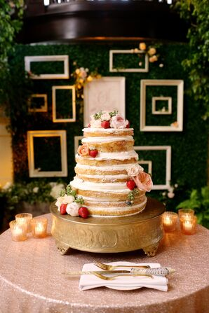 Naked Wedding Cake with Berries and Flowers