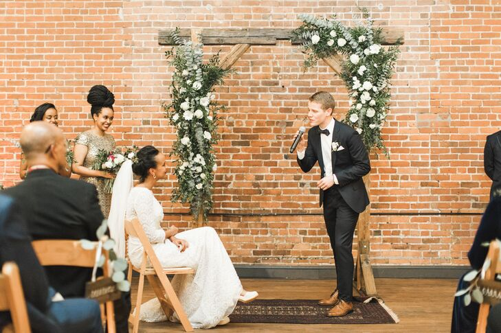 "Having met during choir during college, both Desta and Benjamin knew music would feature prominently throughout their wedding day at Charles River Museum of Industry and Innovation in Waltham, Massachusetts. During the ceremony, Benjamin surprised Desta by serenading her with ""Coming Home"" by Leon Bridges, with the help of a few of their choir friends."