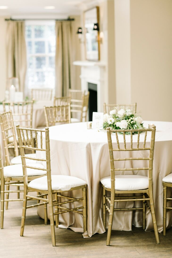 Gold Chiavari Chairs at Reception at The Lace House in Columbia, South Carolina