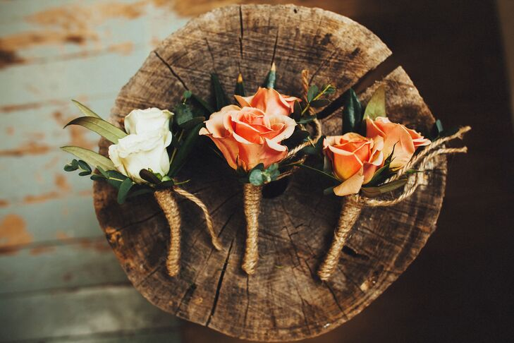 Coral and Ivory Rose Boutonnieres