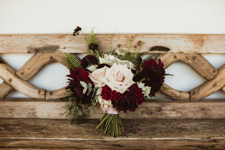 Rustic Fall Bouquet with Roses, Dahlias and Scabiosa