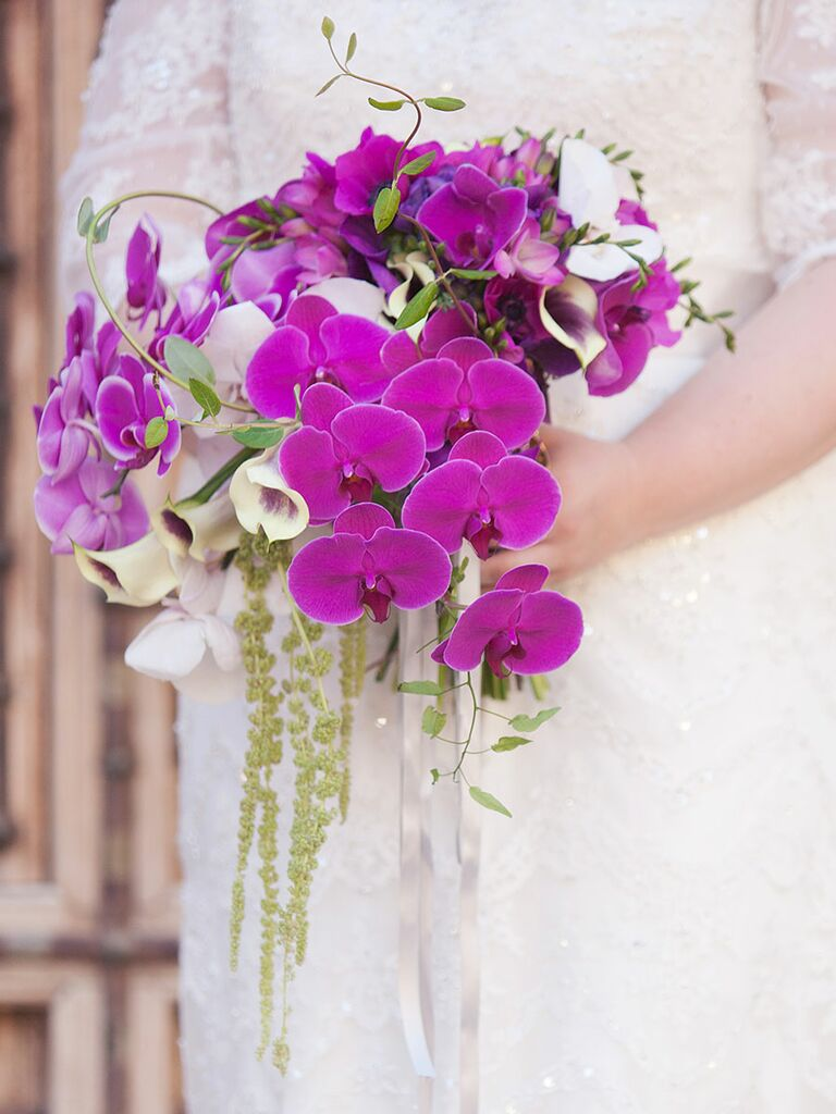 16 purple bouquet ideas and the flower names too cascading purple wedding bouquet with orchids calla lilies anemones izmirmasajfo