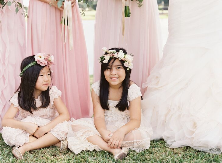 Joyce's niece and Jae's youngest cousin were their flower girls. Each girl wore a bohemian blush pink dress of her choosing.