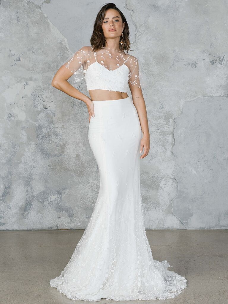 Rime Arodaky two-piece wedding dress with fit-and-flare skirt and sheer overlay top