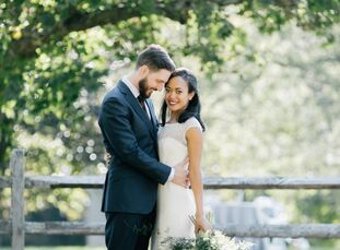 Heather Hughes (31 and an art history doctoral candidate) and Robert Hoffman (30 and a philosophy professor) wed under a rustic, birchwood arch in the