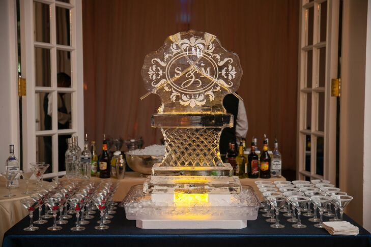 """During cocktail hour, the couple served their signature drinks: lemon drop and Swedish Fish martinis. """"Two of our absolute favorites,"""" Stephanie says. """"With all the personal touches that we were able to incorporate into our wedding celebration, we were able share our personal tastes and love for each other with our family and friends."""""""