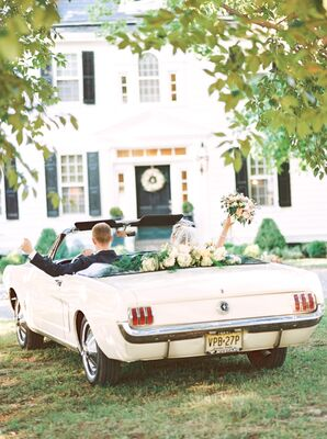 Vintage White Convertible Getaway Car