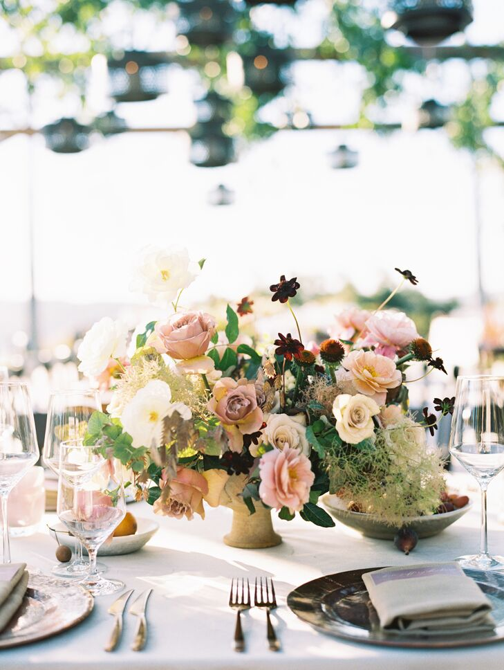 Scabiosa, Moss and Dusty-Pink Rose Centerpieces