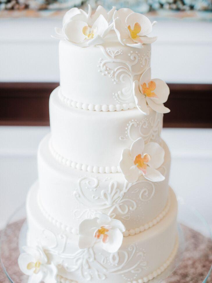 White Fondant Wedding Cake with Decorative Piping