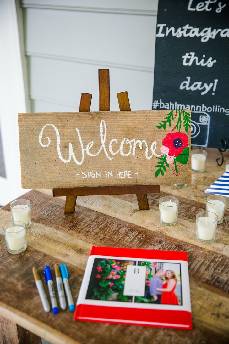 DIY Wooden Red, White and Blue Floral 'Welcome' Sign