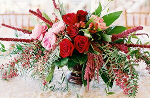 Red and Green Centerpiece with Roses and Peonies
