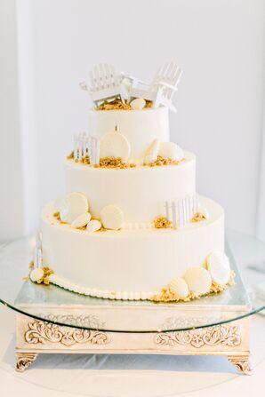 Beach and Seashell-Themed Wedding Cake