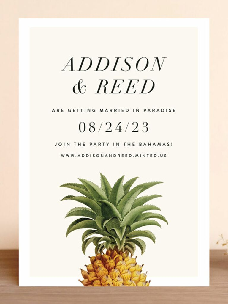 pineapple destination wedding save the date