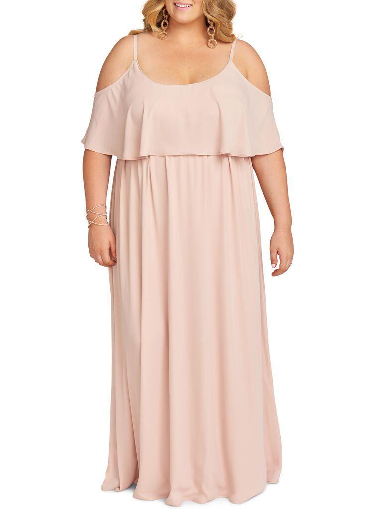 Blush off the shoulder plus size bridesmaid dress
