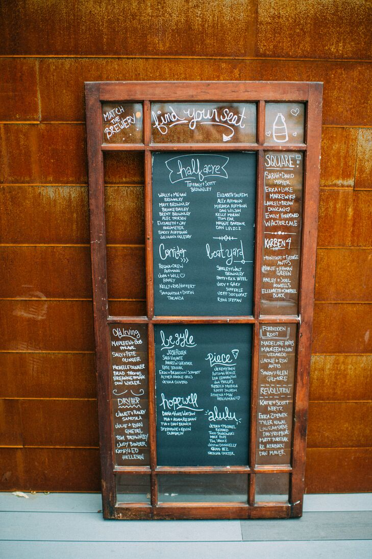 Rustic Window and Chalkboard Seating Chart