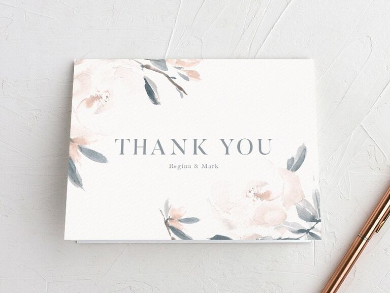 floral watercolor wedding thank-you card