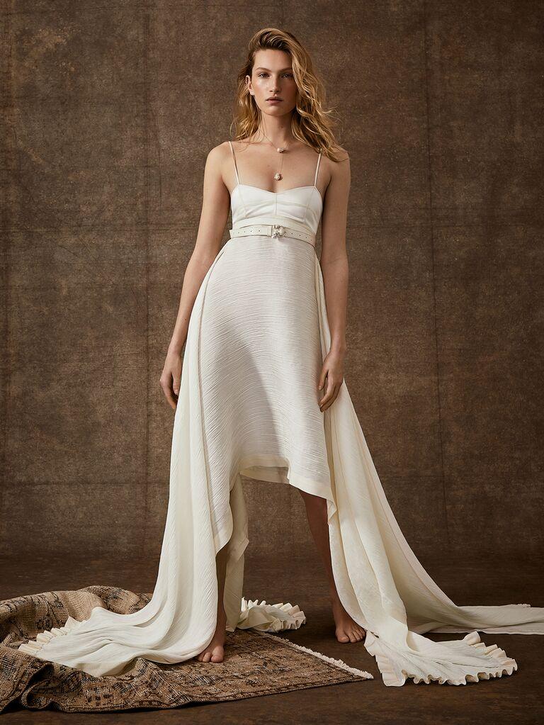 Danielle Frankel Spring 2020 Bridal Collection spaghetti strap high-low wedding dress