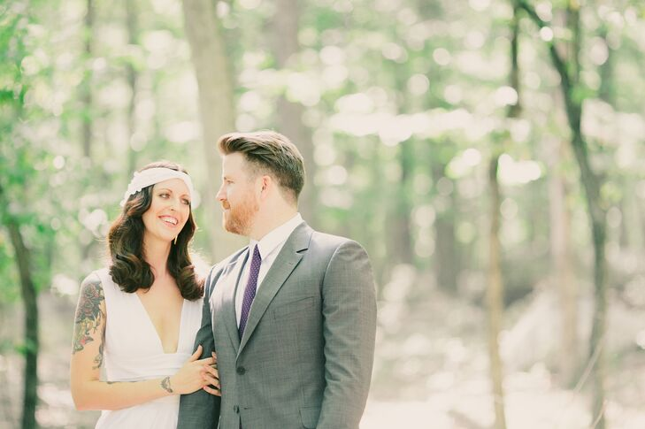 This rustic, boho wedding with DIY elements embraced all that the natural New York woodland had to offer. Andrea Giddens (31 and a hairstylist) and Ch
