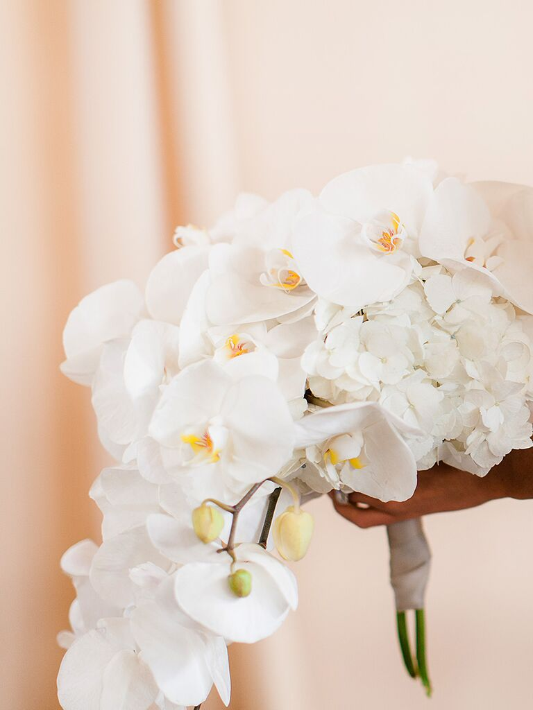 20 romantic white wedding bouquet ideas cascading white bouquet with hydrangeas and orchids izmirmasajfo