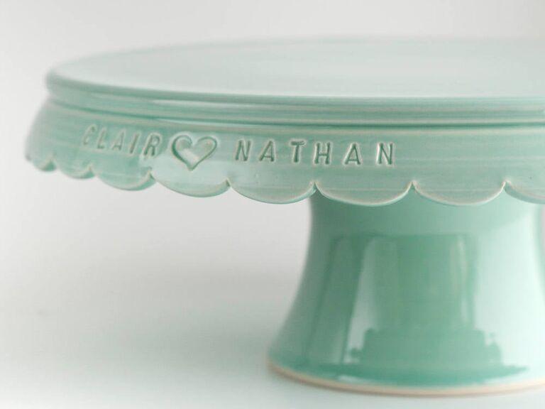 Custom engraved wedding cake stand