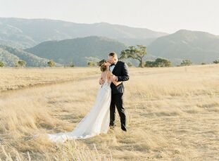 "Erin DiAngelis and Andrey Antonov chose Kestrel Park in Santa Ynez, California, for their wedding because the venue is ""like an English garden fairyta"
