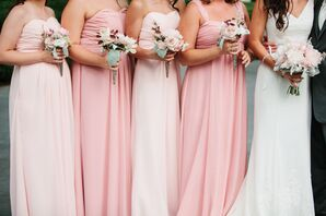 Strapless Mixed Blush Bridesmaid Gowns