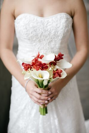 White Calla Lily and Red Orchid Bouquet