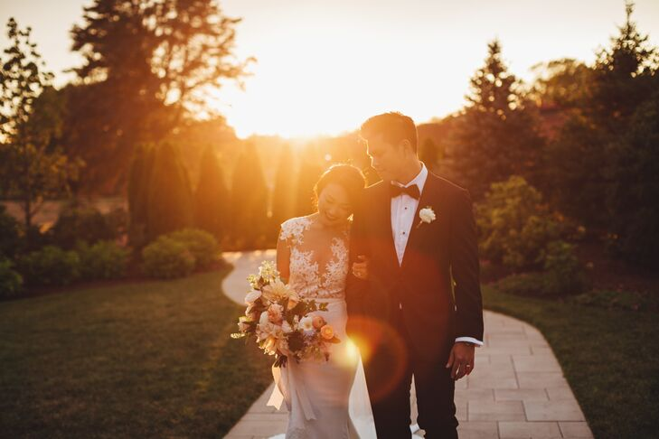 While Yan opted for a one-of-a-kind style for her bridal debut, Stephen opted to keep things classic. He rocked a traditional black tuxedo by Vera Wang for the occasion, which he teamed with a black bow tie, sleek dress shoes and a pale pink boutonniere.