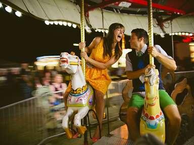 couple taking candid engagement photo