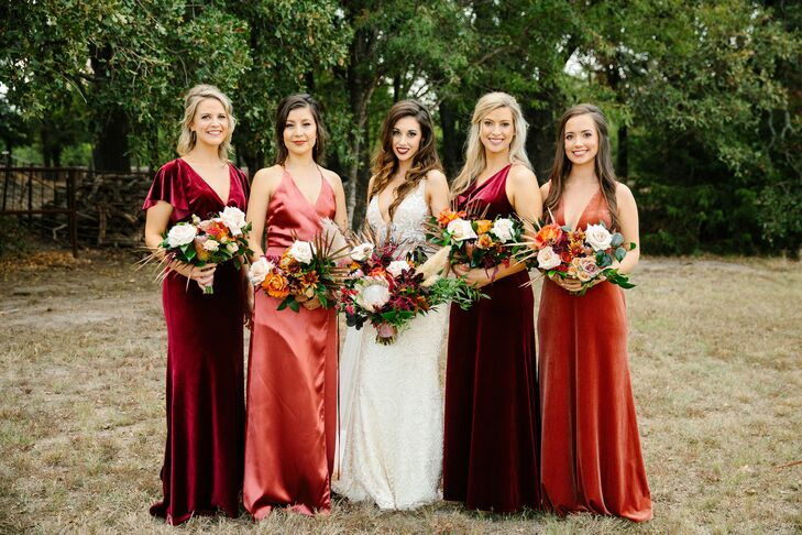 Bridesmaids in Bold Red Dresses at Texas Wedding